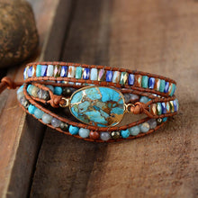 Load image into Gallery viewer, Protective Turquoise Wrap Bracelet