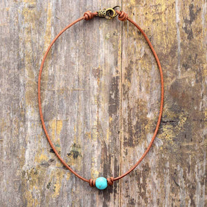 Turquoise Leather Choker