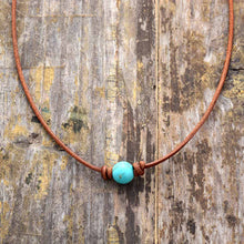 Load image into Gallery viewer, Turquoise Leather Choker