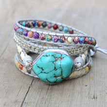 Load image into Gallery viewer, Healing Turquoise Protection Wrap Bracelet