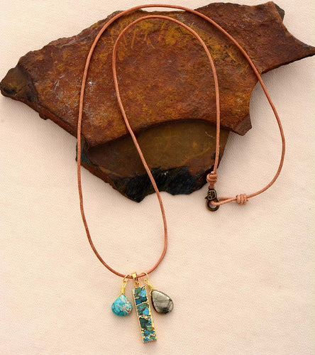 Ocean Vibes - Turquoise and Pyrite Necklace
