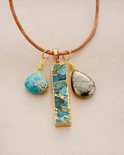 Load image into Gallery viewer, Ocean Vibes - Turquoise and Pyrite Necklace
