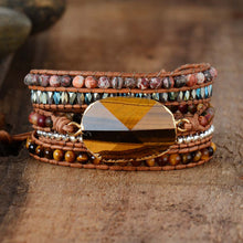 Load image into Gallery viewer, Tiger Eye Healing Crystals Leather Wrap Bracelet