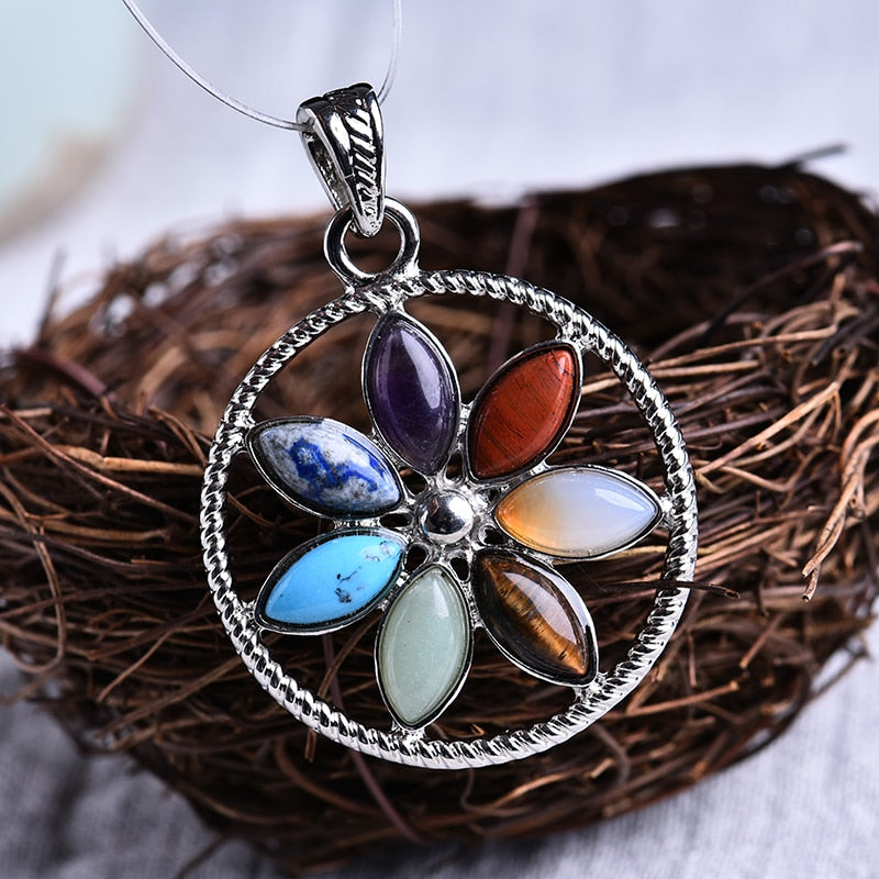 Floral Patterned Necklace with seven Natural Stones