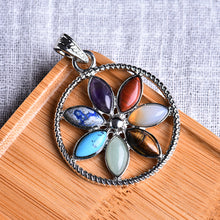 Load image into Gallery viewer, Floral Patterned Necklace with seven Natural Stones