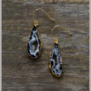 Natural Agate Druzys Drop Earring