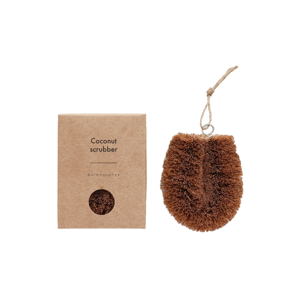 Coconut husk fibre scrubbing brush for kitchen cleaning