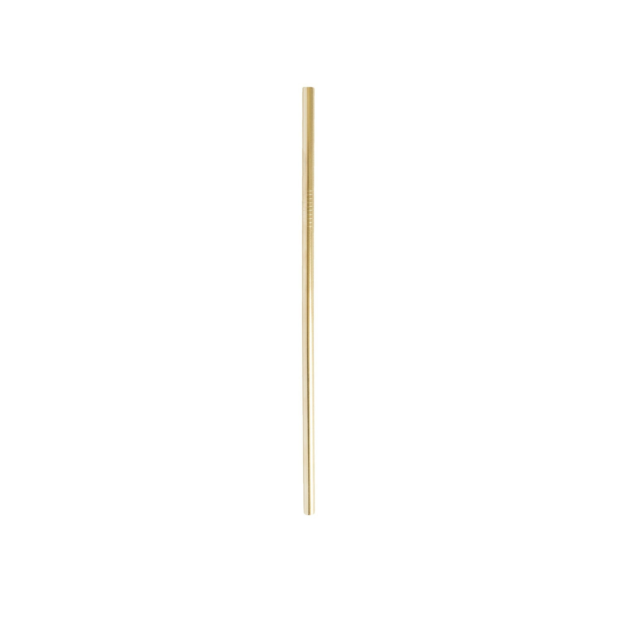Gold 6 mm straight stainless steel straw.