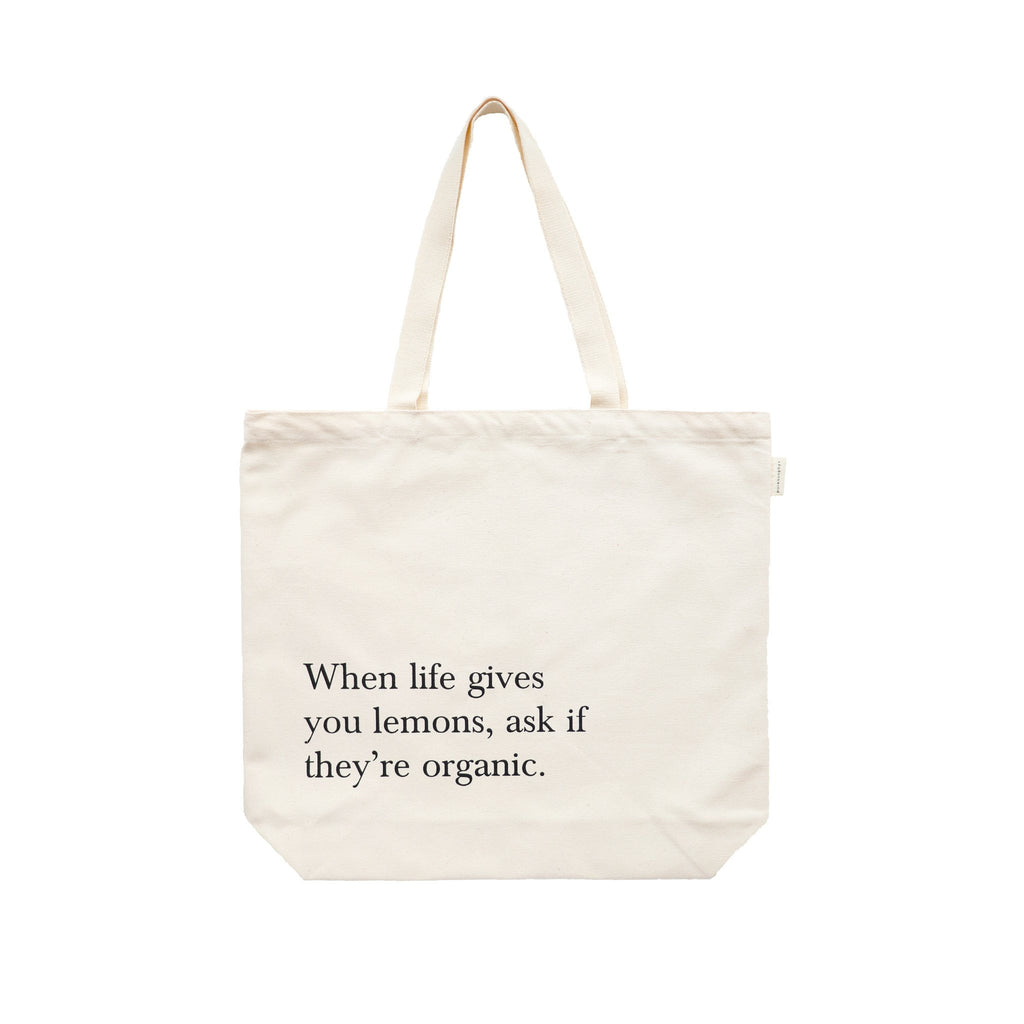 When life gives you lemons organic cotton canvas shopping bag
