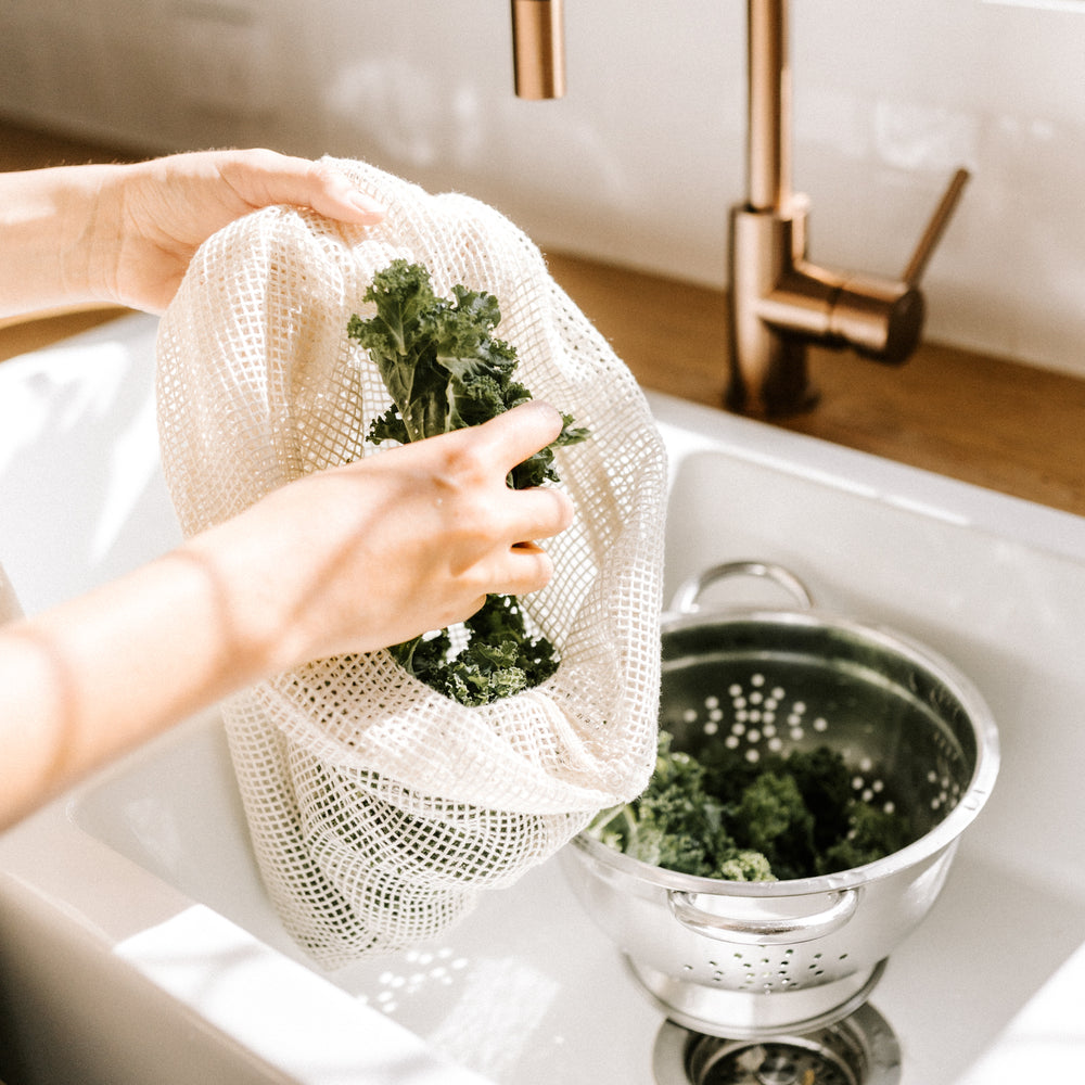 Organic cotton mesh produce bag // medium
