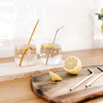 Gold stainless steel straw // bent