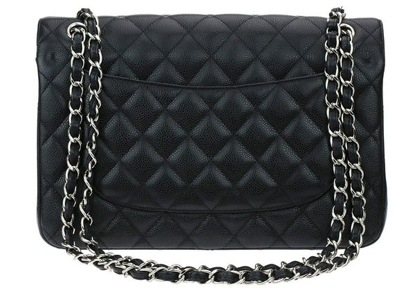 BLACK CAVIAR LEATHER JUMBO DOUBLE FLAP BAG
