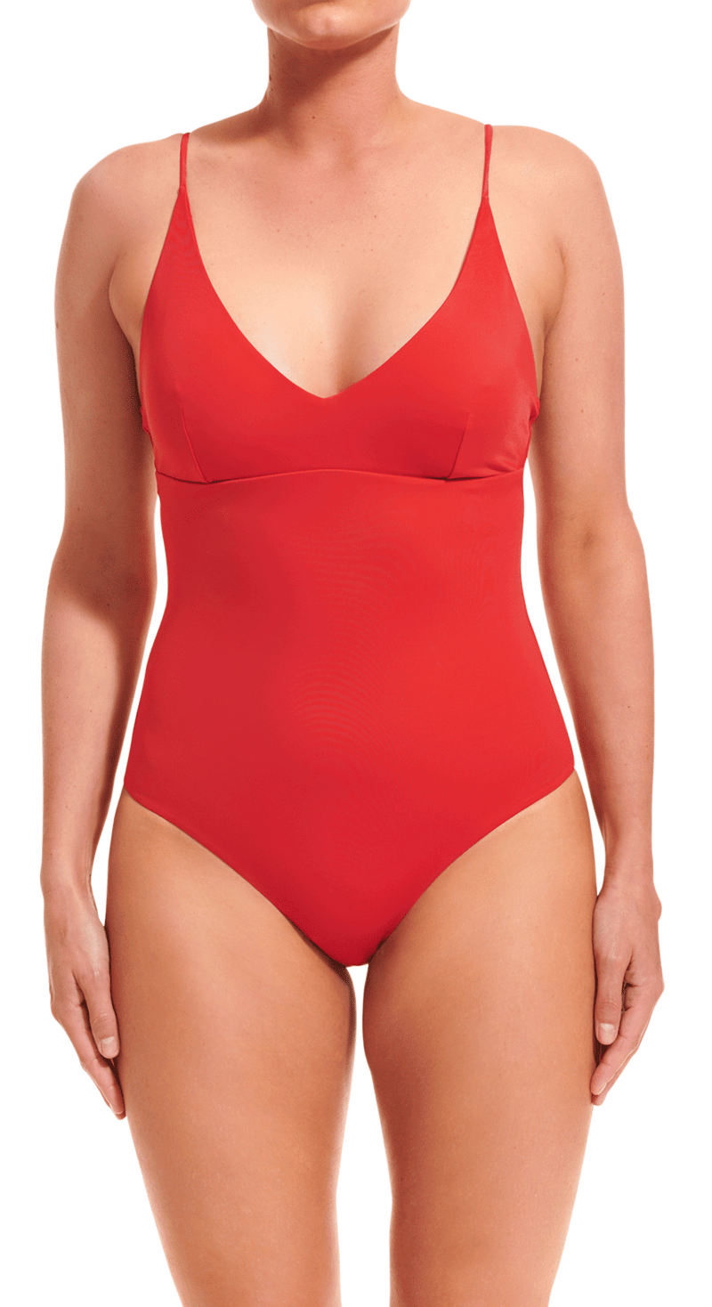 V-neck bathing suit