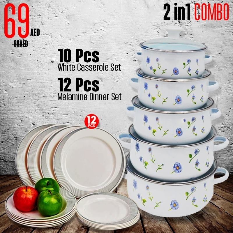 10 PCs White Casserole Set (OE-004) Dinner Set