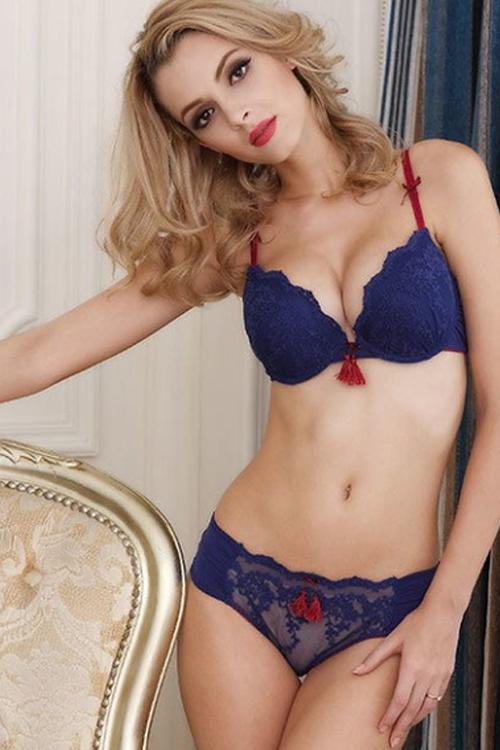 Blue Lace Bra and Panty With Embellishments