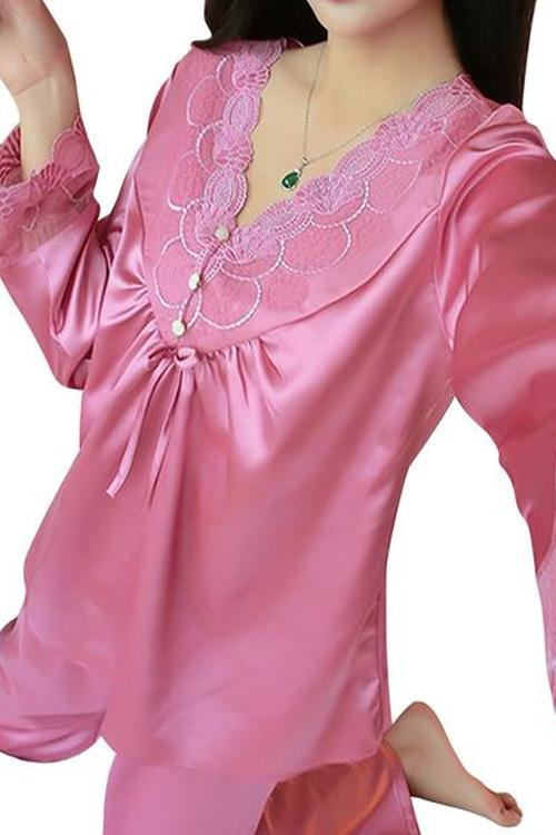 Pink Pearl Lace Trim Satin Pajama Set