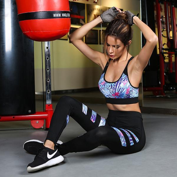 Flora Stripe Fitness Bra & Leggings Set - MondayBloom.com