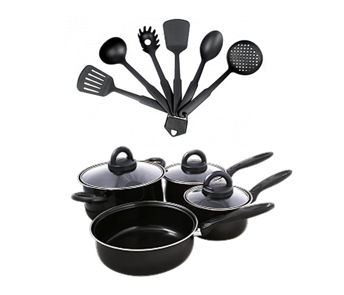 Olympia OE-005-13 10 Pieces Non-Stick Cookware Set - Black