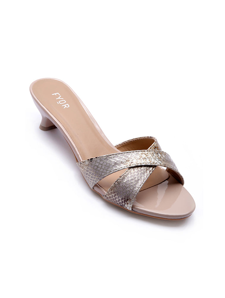 Lizard Pattern Beige Strap Low Heel
