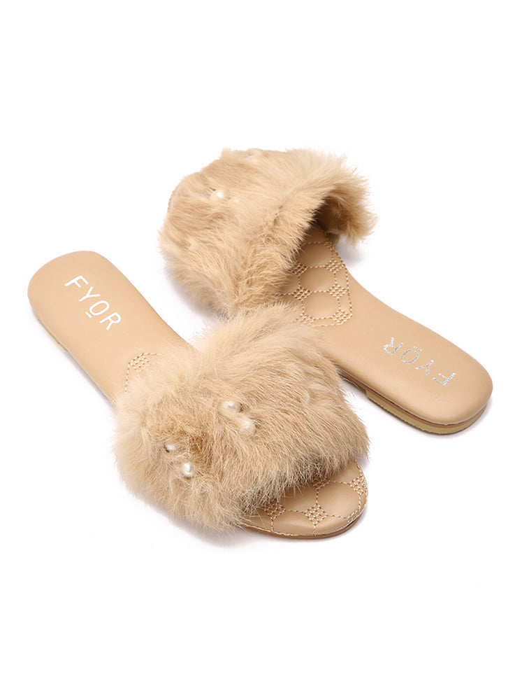 Pearl Studded Beige Fur Slides