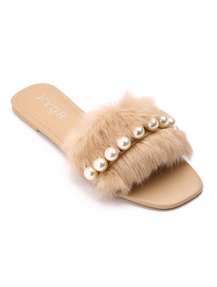 Fur Pearl Studded Beige Slides