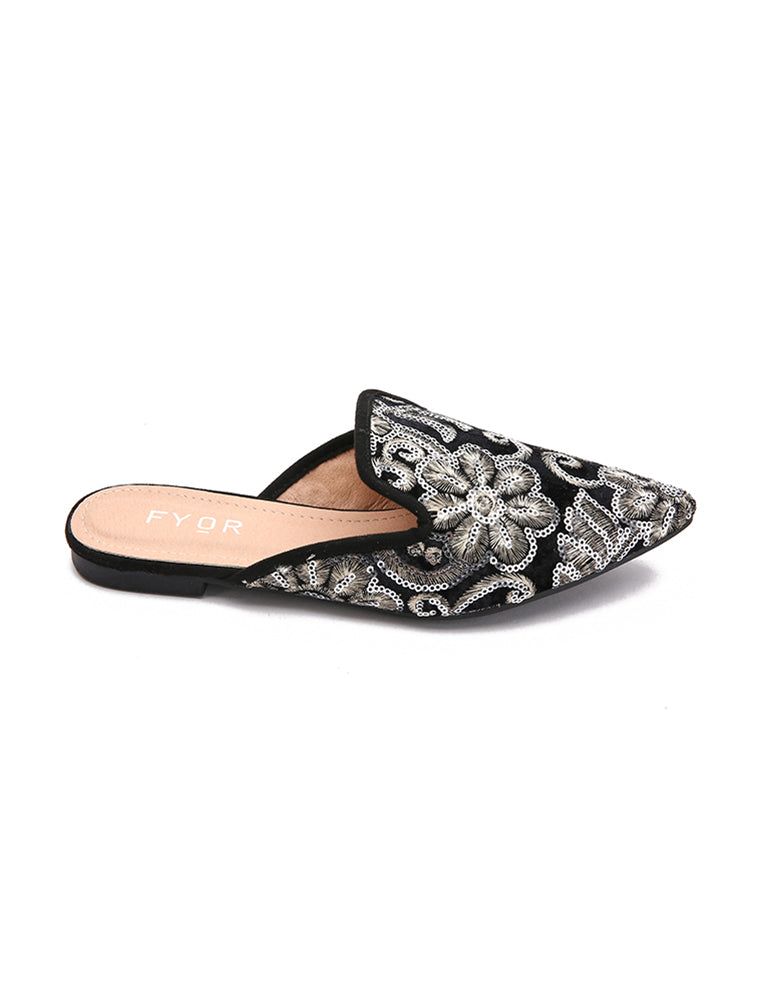 Traditional Pointed Sequined Black Flats