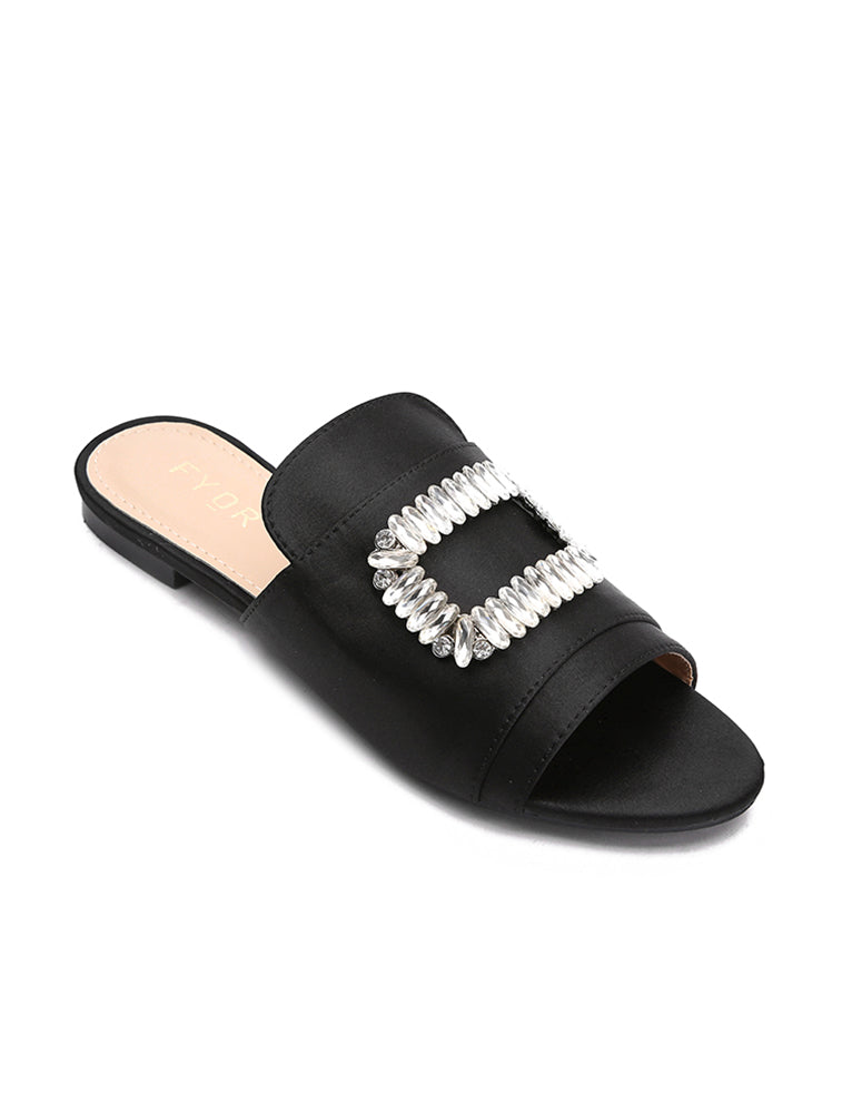 Crystal Cap Up Black Flats