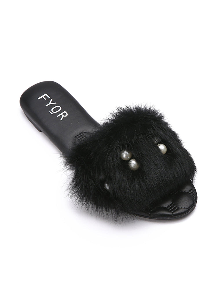 Pearl Studded Black Fur Slides