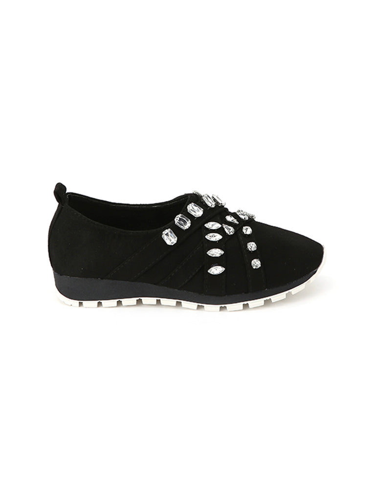 Stone Studded Closed Black Slip On
