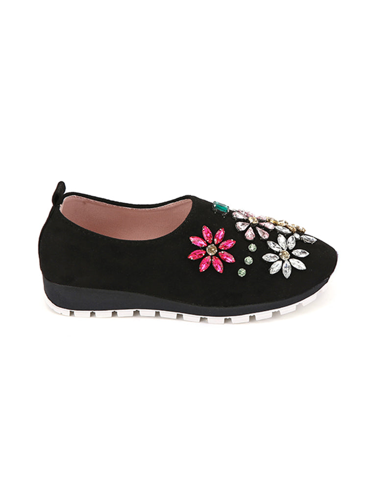 Floral Design Black Closed Shoes