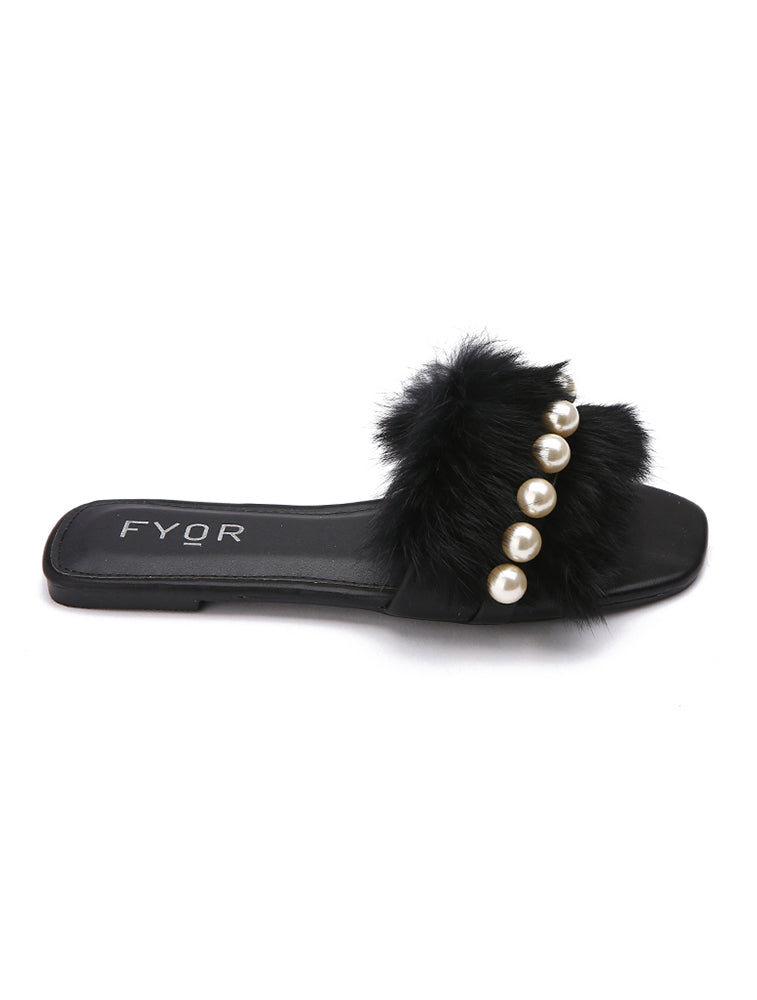 Fur Pearl Studded Black Slides