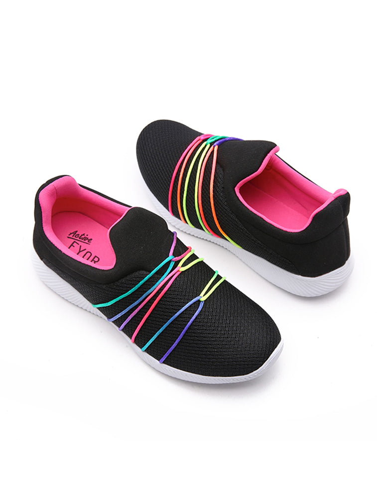 Fyor Rainbow String Tie Black Shoe