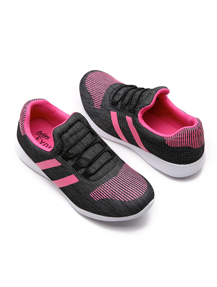 Dark Grey Casual Shoe with Pink Stripes