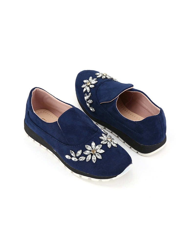 Crystal Design Navy Closed Shoes