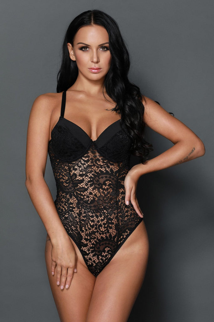 Sexy Black Push up Lace Teddy