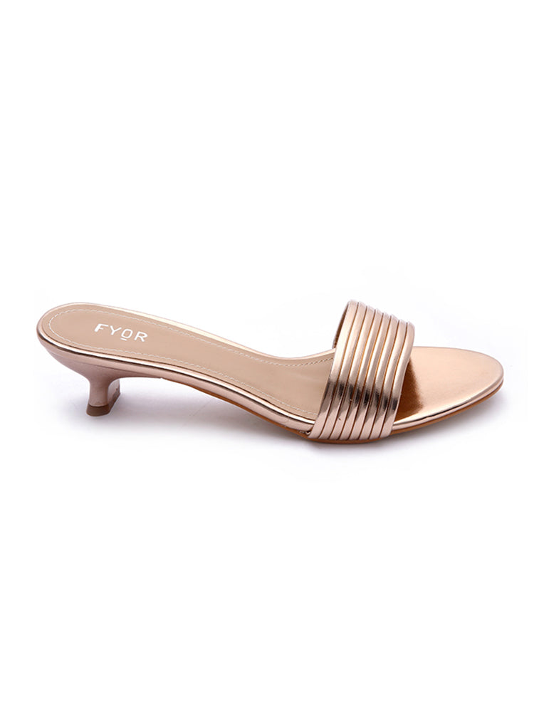 Rose Gold Strap Lining Close Heel