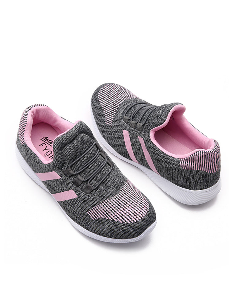Grey Casual Shoe with Pink Stripes