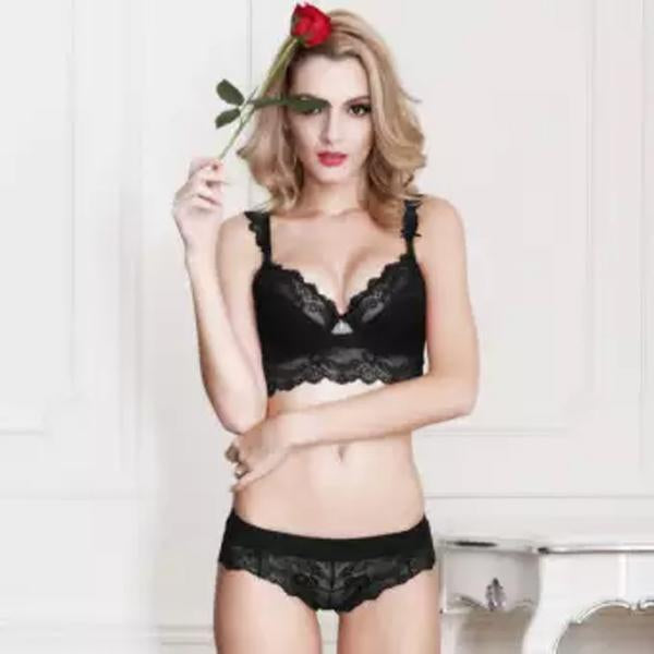 Embroidery Black Penelope Lace Bra and Panty Set