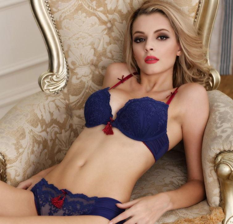 Lace Bra and Panty With Embellishments - MondayBloom.com