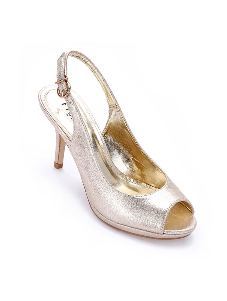 Gold Cave Toe Sling Back Heels