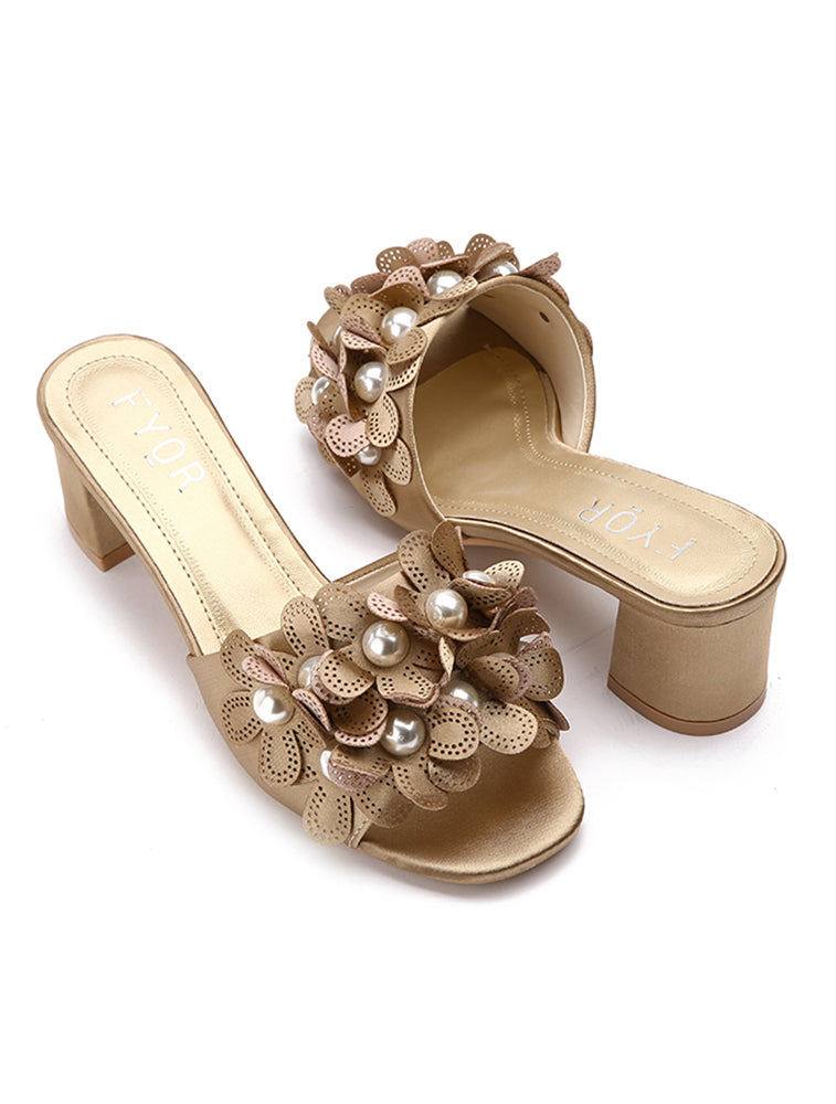 Gold Floral Pearl Studded Block Heel