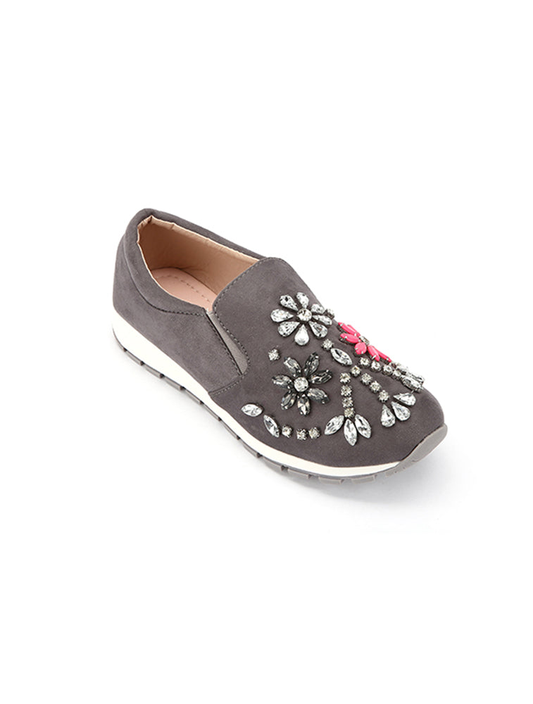 Crystal Floral Studded Closed Grey Shoe