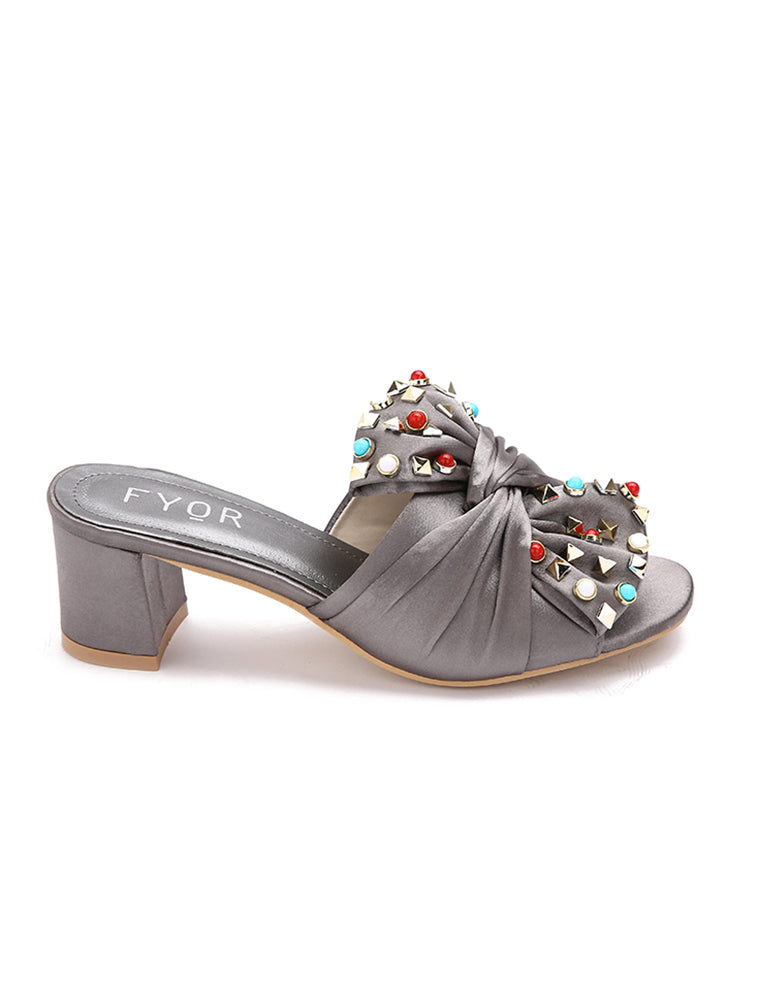 Satin Tie Jewel Studded Grey Sandal