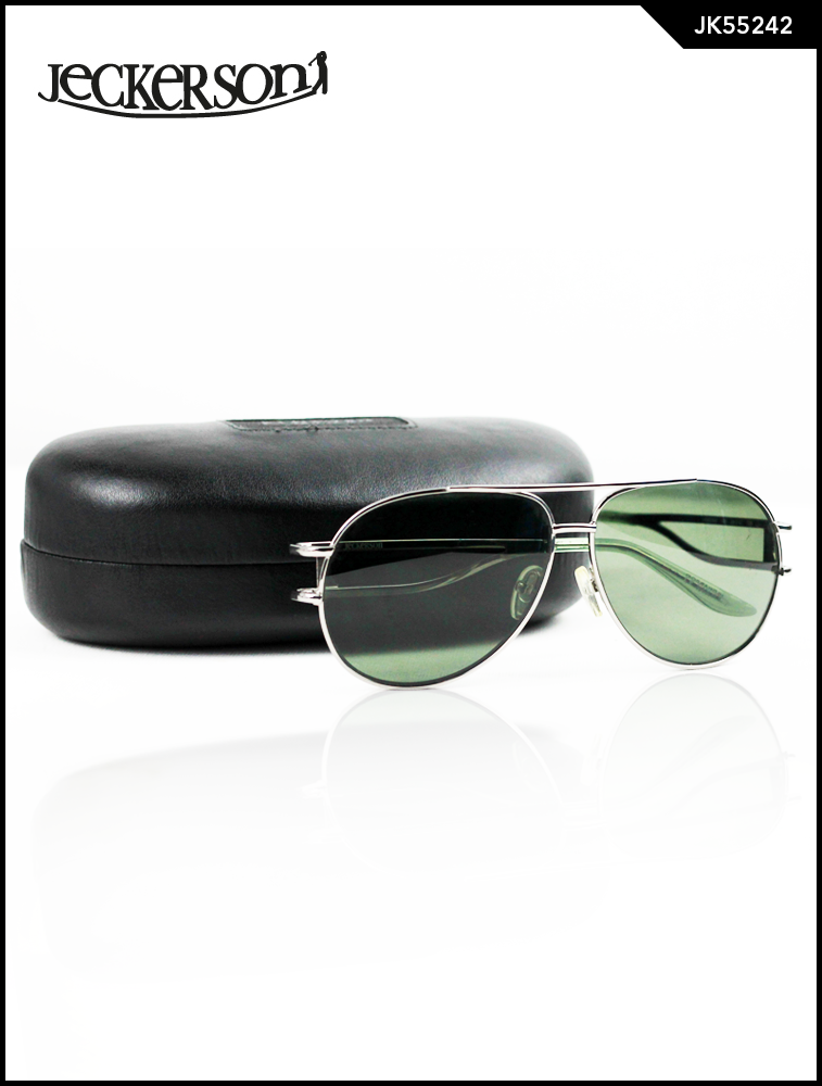 Metalic  Aviator Sunglasses with Green Glass Lens