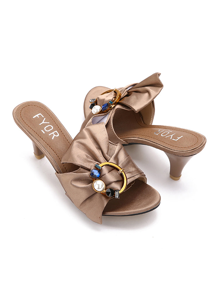 Satin Ribbon Jewel Studded Sandal