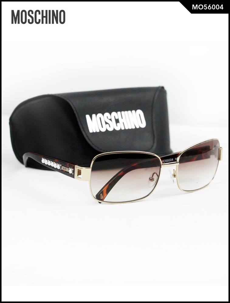 Moschino Pearl Studded Rectangular Sunglasses