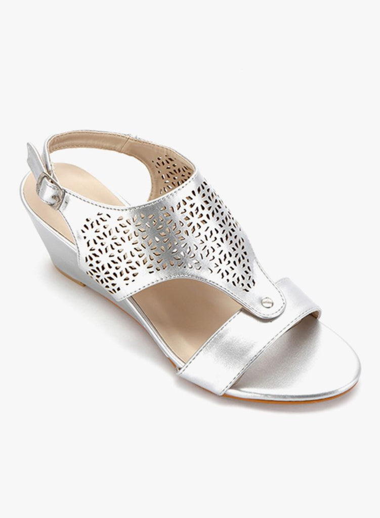 Silver Crafted Wedge Heels