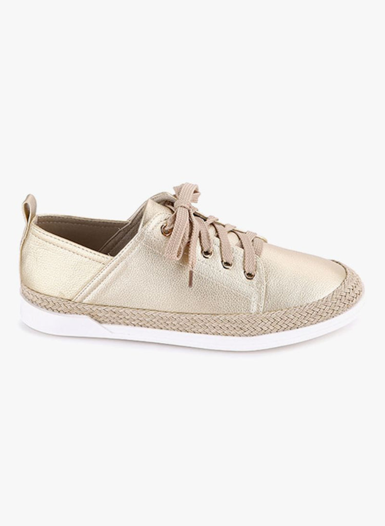 Metallic Gold Low Height Sneakers
