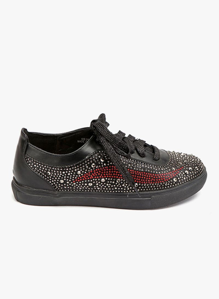 Sequin Studded Black Sneaker