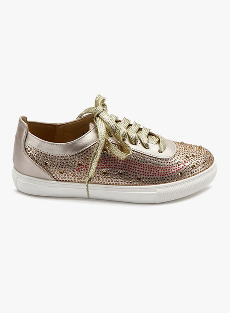 Sequin Studded Gold Sneaker